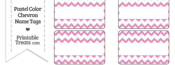 Pastel Pink Chevron Name Tags