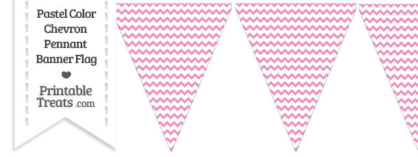 Pastel Pink Chevron Pennant Banner Flag