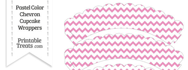 Pastel Pink Chevron Scalloped Cupcake Wrappers