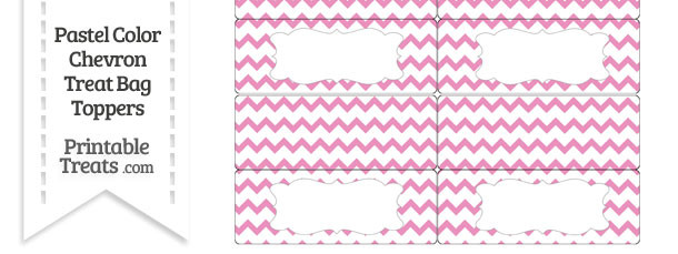 Pastel Pink Chevron Treat Bag Toppers