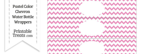 Pastel Pink Chevron Water Bottle Wrappers