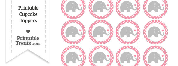 Pastel Pink Polka Dot Baby Elephant Cupcake Toppers