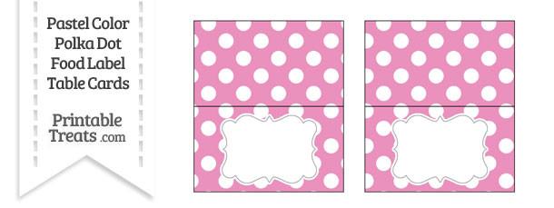 Pastel Pink Polka Dot Food Labels