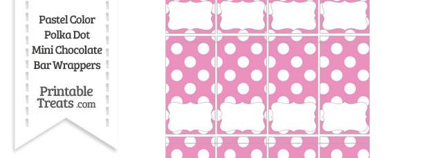 Pastel Pink Polka Dot Mini Chocolate Bar Wrappers