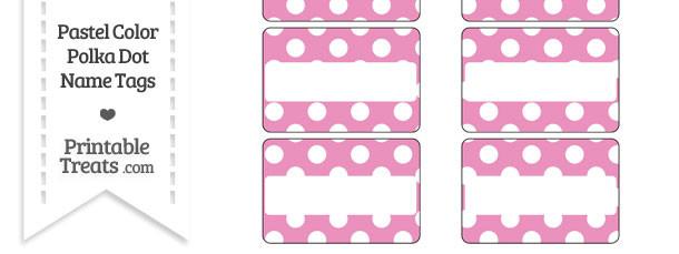 Pastel Pink Polka Dot Name Tags