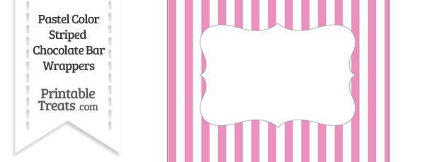 Pastel Pink Striped Chocolate Bar Wrappers