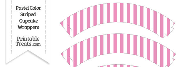 Pastel Pink Striped Cupcake Wrappers