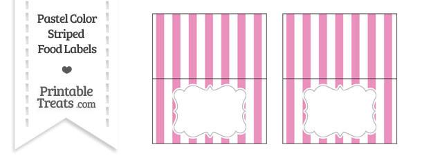 Pastel Pink Striped Food Labels