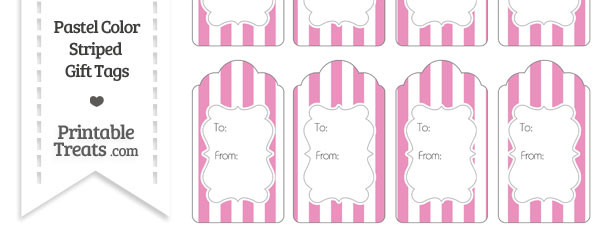 Pastel Pink Striped Gift Tags
