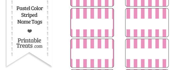 Pastel Pink Striped Name Tags