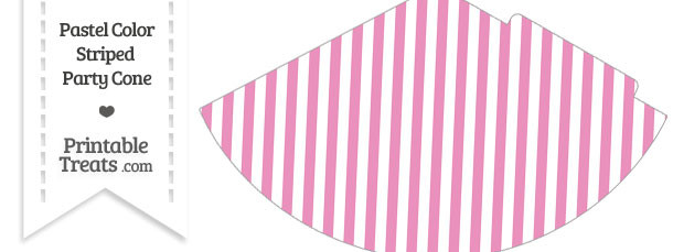 Pastel Pink Striped Party Cone
