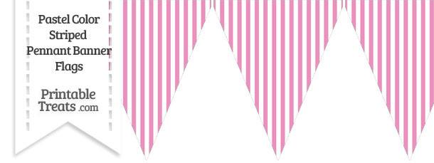 Pastel Pink Striped Pennant Banner Flag
