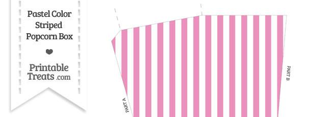 Pastel Pink Striped Popcorn Box