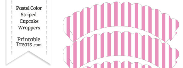 Pastel Pink Striped Scalloped Cupcake Wrappers