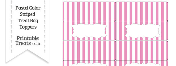 Pastel Pink Striped Treat Bag Toppers