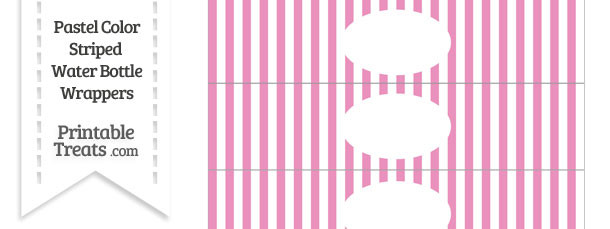 Pastel Pink Striped Water Bottle Wrappers