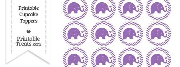 Pastel Plum Baby Elephant Chevron Cupcake Toppers