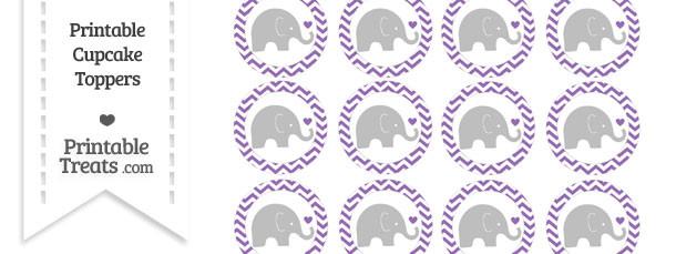 Pastel Plum Chevron Baby Elephant Cupcake Toppers