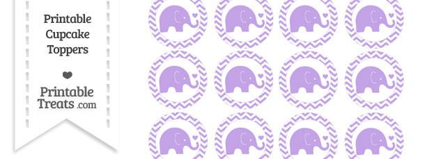 Pastel Purple Baby Elephant Chevron Cupcake Toppers
