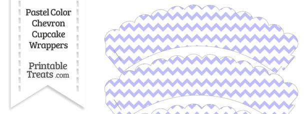Pastel Purple Chevron Scalloped Cupcake Wrappers