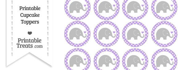 Pastel Purple Polka Dot Baby Elephant Cupcake Toppers