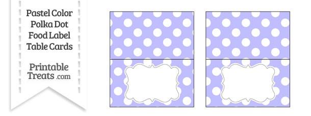 Pastel Purple Polka Dot Food Labels