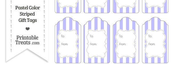 Pastel Purple Striped Gift Tags