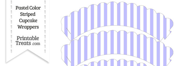Pastel Purple Striped Scalloped Cupcake Wrappers