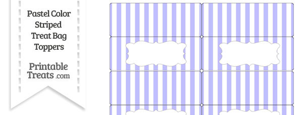 Pastel Purple Striped Treat Bag Toppers