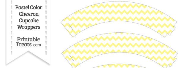Pastel Yellow Chevron Cupcake Wrappers
