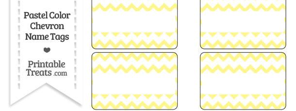 Pastel Yellow Chevron Name Tags