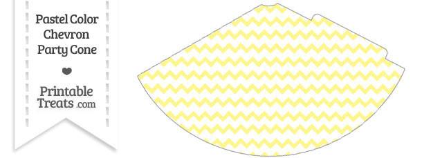 Pastel Yellow Chevron Party Cone