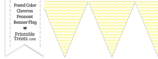 Pastel Yellow Chevron Pennant Banner Flag