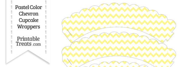 Pastel Yellow Chevron Scalloped Cupcake Wrappers