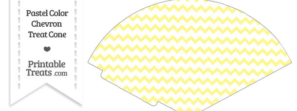 Pastel Yellow Chevron Treat Cone