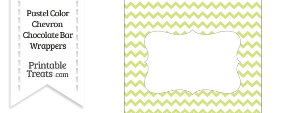 Pastel Yellow Green Chevron Chocolate Bar Wrappers