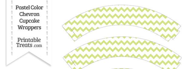 Pastel Yellow Green Chevron Cupcake Wrappers