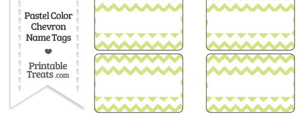 Pastel Yellow Green Chevron Name Tags