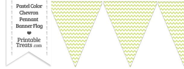 Pastel Yellow Green Chevron Pennant Banner Flag