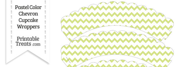 Pastel Yellow Green Chevron Scalloped Cupcake Wrappers