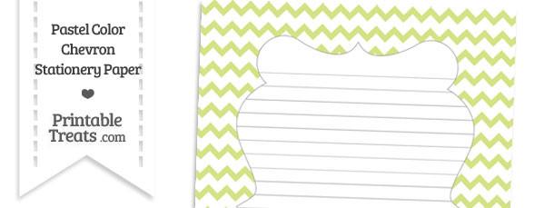 Pastel Yellow Green Chevron Stationery Paper