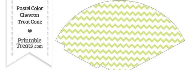 Pastel Yellow Green Chevron Treat Cone