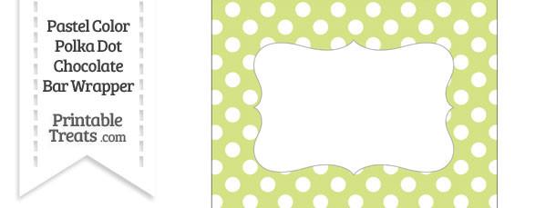 Pastel Yellow Green Polka Dot Chocolate Bar Wrappers