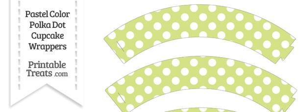Pastel Yellow Green Polka Dot Cupcake Wrappers