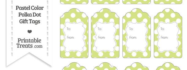 Pastel Yellow Green Polka Dot Gift Tags