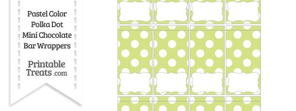 Pastel Yellow Green Polka Dot Mini Chocolate Bar Wrappers