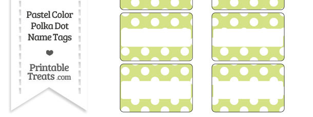 Pastel Yellow Green Polka Dot Name Tags