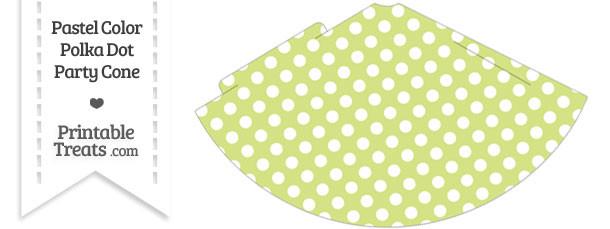 Pastel Yellow Green Polka Dot Party Cone