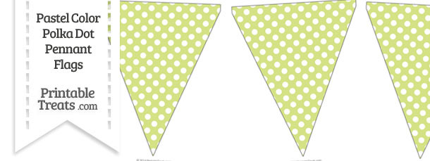 Pastel Yellow Green Polka Dot Pennant Banner Flag