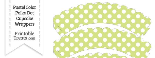 Pastel Yellow Green Polka Dot Scalloped Cupcake Wrappers